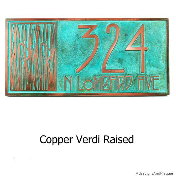 Cattail Craftsman House Numbers - Copper Verdi