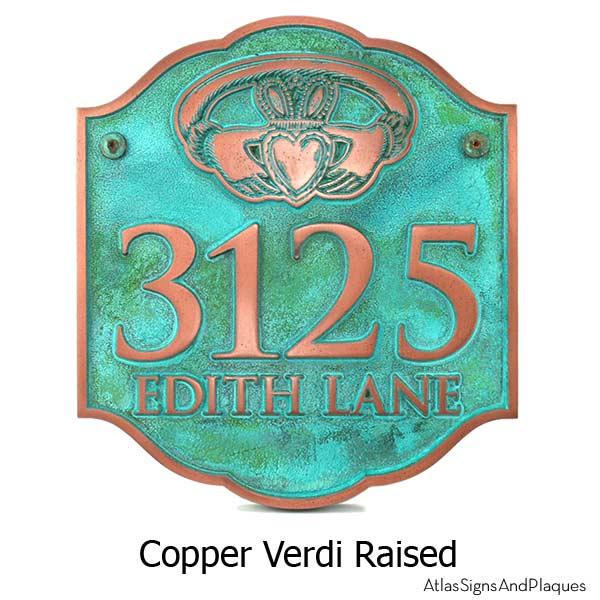 Celtic Claddagh Ring Plaque - Copper Verdi Shown with Optional T30 Screws