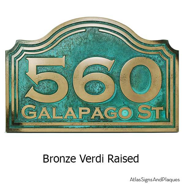 Classic Arch Address Plaque - Bronze Verdi