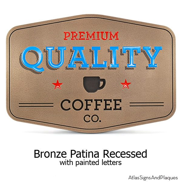 Coffee Shop Sign - Bronze with Paint