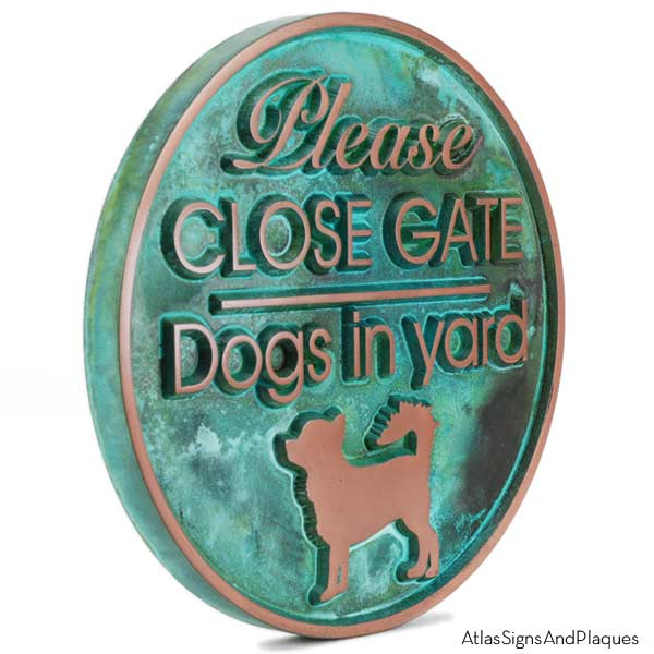 Dogs in Yard Plaque - Copper Verdi