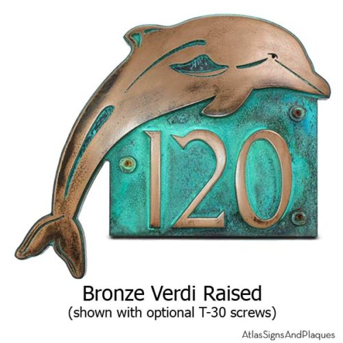 Dolphin Address Plaque - Bronze Verdi Shown with Optional T30 Screws