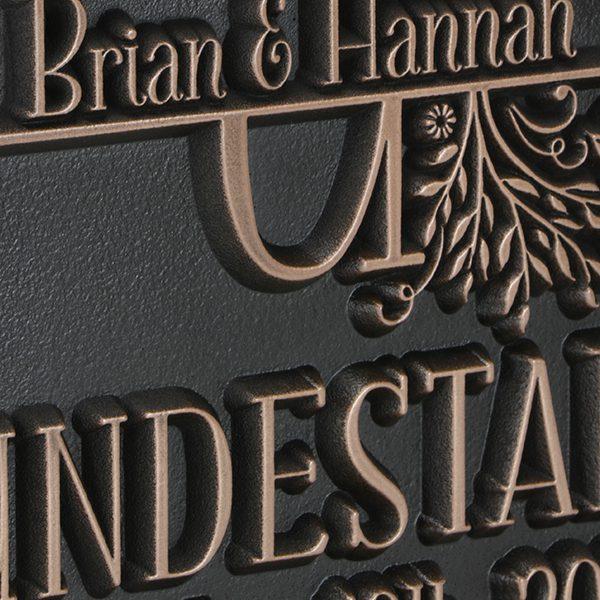 Family Name Wedding Plaque - Copper Detail