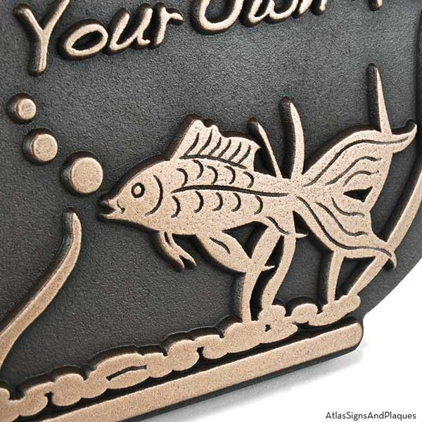 Fish Bowl Address Plaque - Bronze Detail