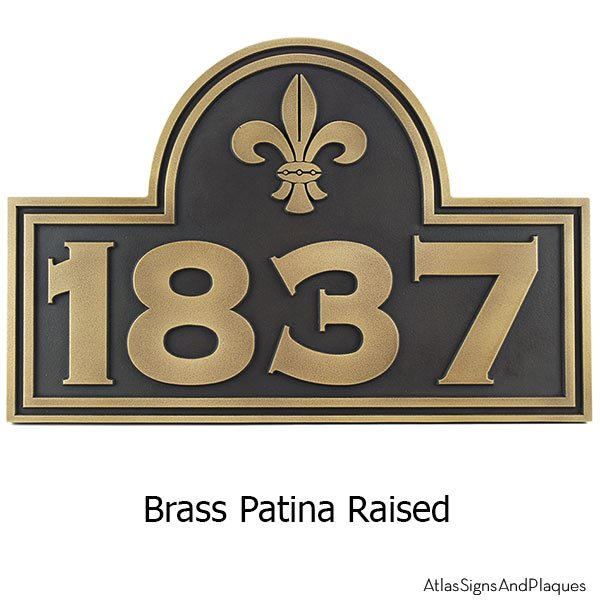 Fleur De Lis Arch Plaque - Brass