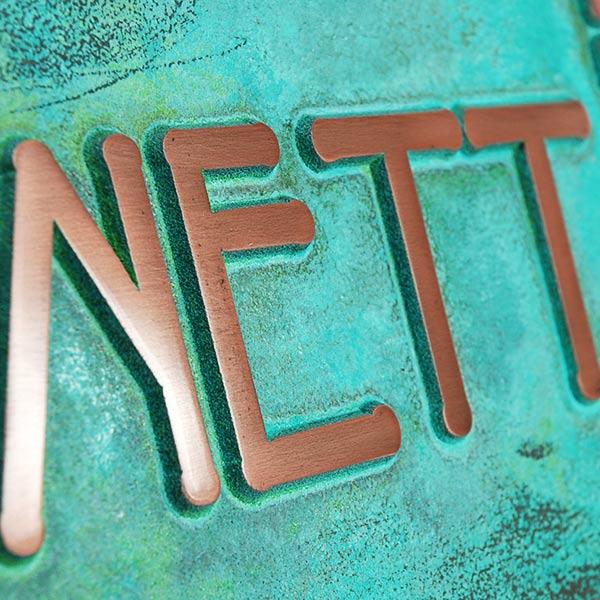 FLW Name Plate Plaque - Copper Verdi Detail