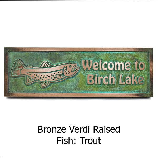 Gone Fishing Plaque - Bronze Verdi Shown with Trout
