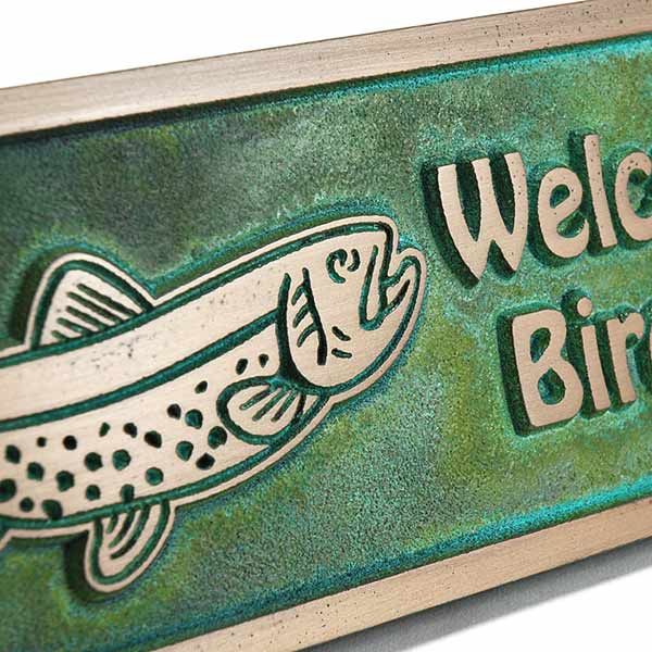 Gone Fishing Plaque - Bronze Verdi Detail Shown with Trout