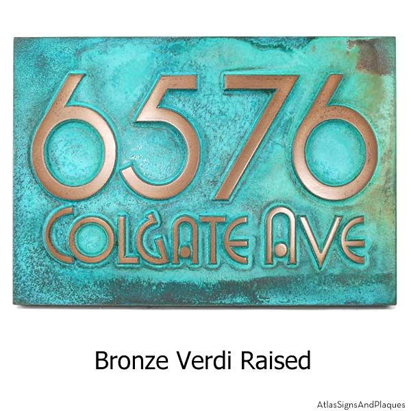 Grado Gradoo Address Plaque - Bronze Verdi