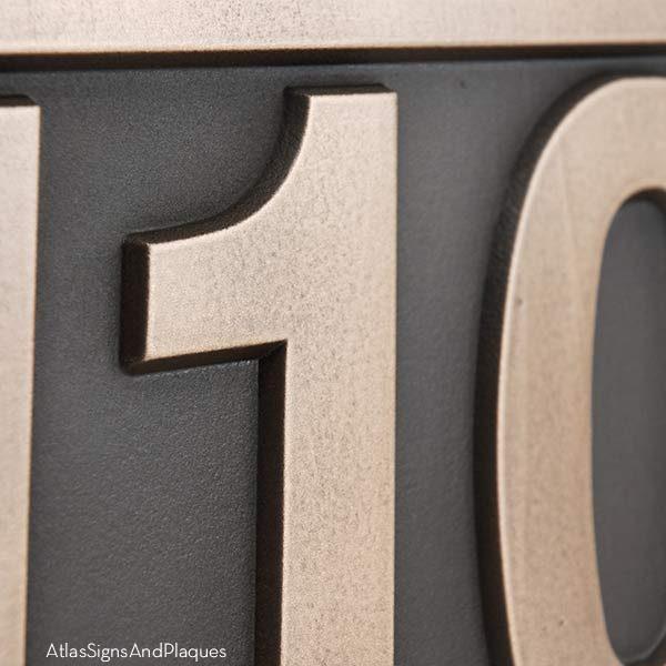 Helvetica Address Numbers - Bronze Detail
