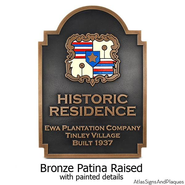 Honolulu Hawaii Historic Resident Plaque - Bronze with Paint