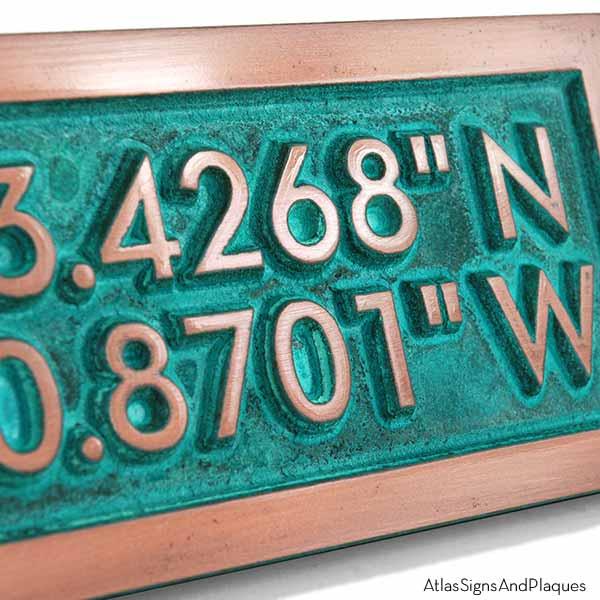 Latitude Longitude Plaque - Copper Verdi Detail