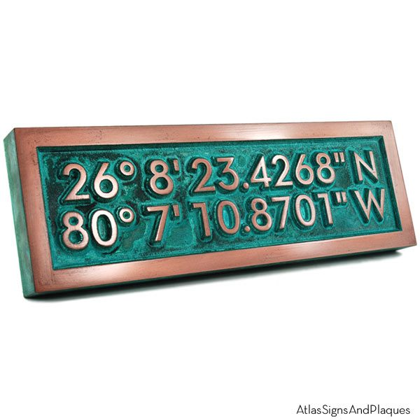 Latitude Longitude Plaque - Copper Verdi