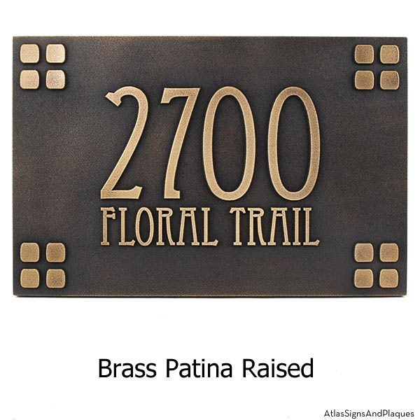 Mission Style Address Sign - Brass
