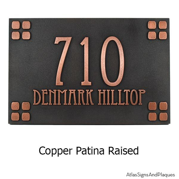 Mission Style Address Sign - Copper