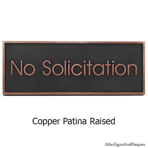 Modern Advantage No Solicitation Sign - Copper