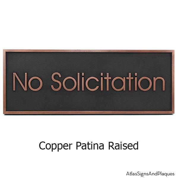 Modern Advantage No Solicitation Sign - Copper