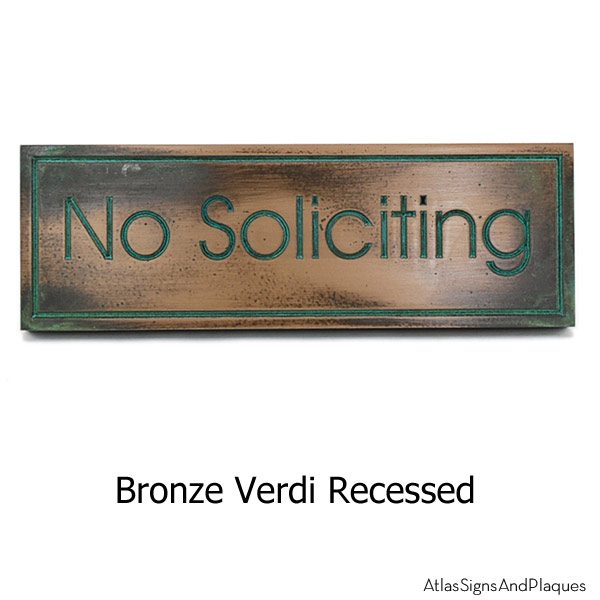 Modern Advantage No Solicitation Sign - Bronze Verdi