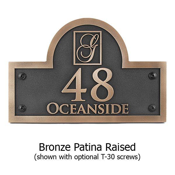 Monogram Arch Address Plaque - Bronze