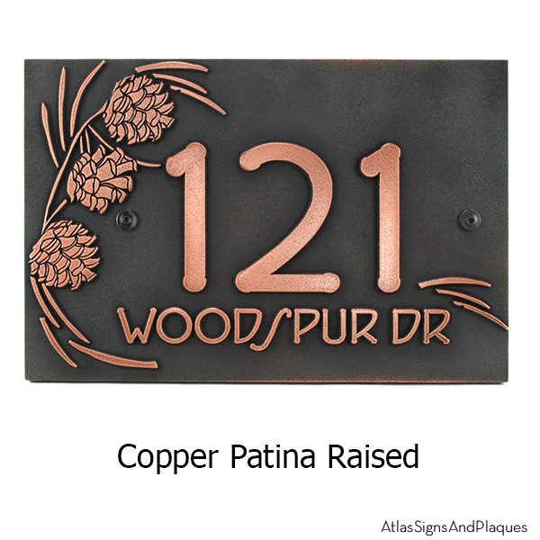 Pine Cone Address Plaque - Copper