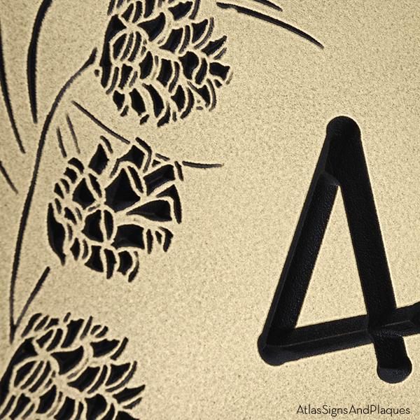 Pine Cone Address Plaque - Recessed Brass Detail