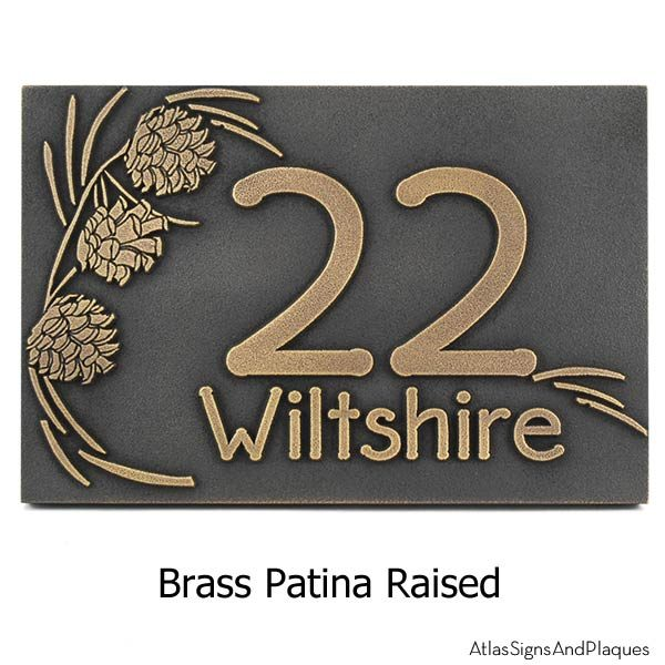 Pine Cone Address Plaque - Brass