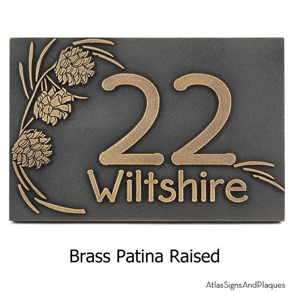 Pine Cone Address Plaque - Brass
