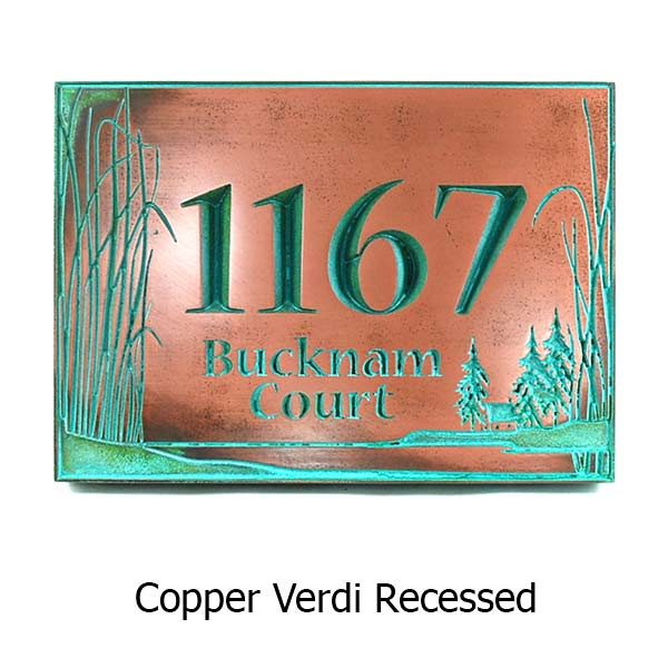 Prairie Grass Address Plaque - Copper Verdi