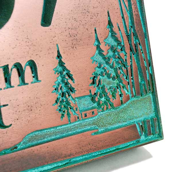 Prairie Grass Address Plaque - Copper Verdi Detail