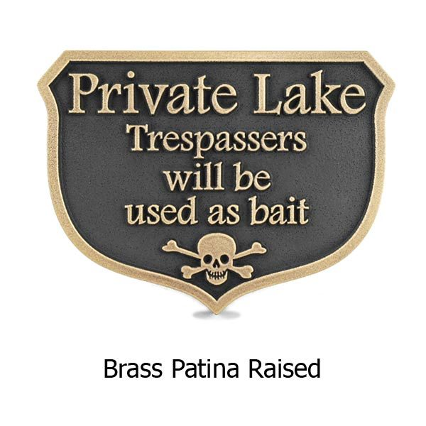 Private Dock Funny No Trespassing Marina Sign - Brass