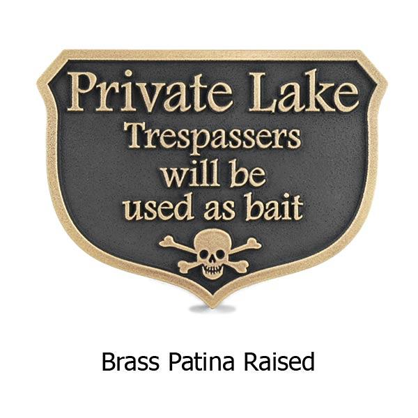 Private Dock Funny No Trespassing Marina Sign - Brass