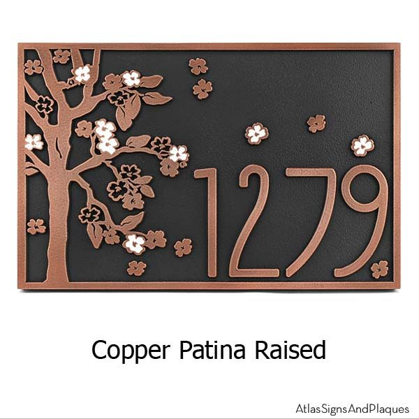Rectangle Blossom Tree Plaque - Copper with Painted Flowers