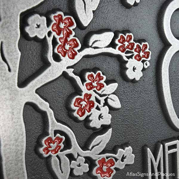 Rectangle Blossom Tree Plaque - Silver Nickel Painted Flowers Detail