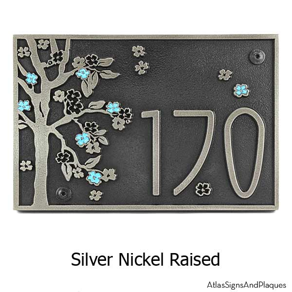 Rectangle Blossom Tree Plaque - Silver Nickel with Painted Flowers & Optional T30 Screws