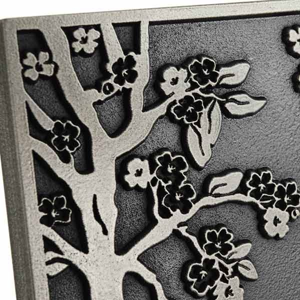 Rectangle Blossom Tree Plaque - Silver Nickel Detail