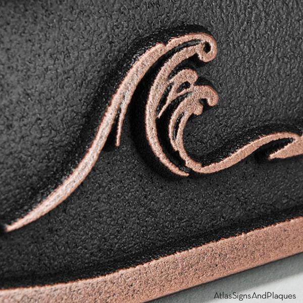 Sea Shore Address Plaque - Copper Raised Detail