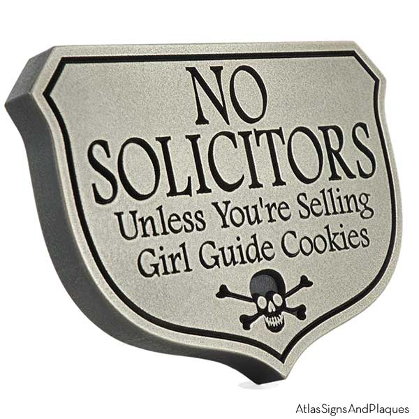 Girl Guide No Soliciting Sign - Silver Nickel