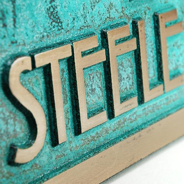 Stickley Address Plaque - Bronze Verdi Detail