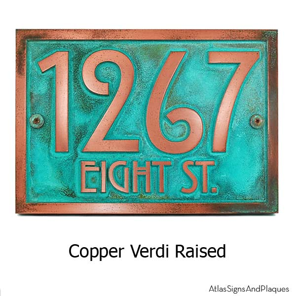 Stickley Address Plaque - Copper Verdi Shown with Optional T30 Screws