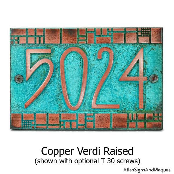 The Batchelder Tile Address Plaque - Copper Verdi