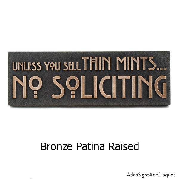 Thin Mints No Soliciting Sign - Bronze