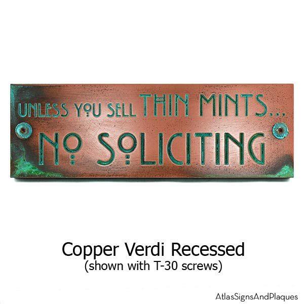 Thin Mints No Soliciting Sign - Copper Verdi