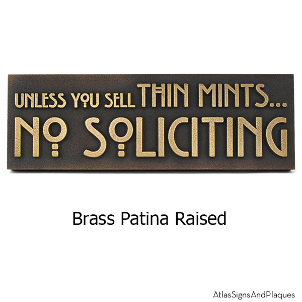 Thin Mints No Soliciting Sign - Brass