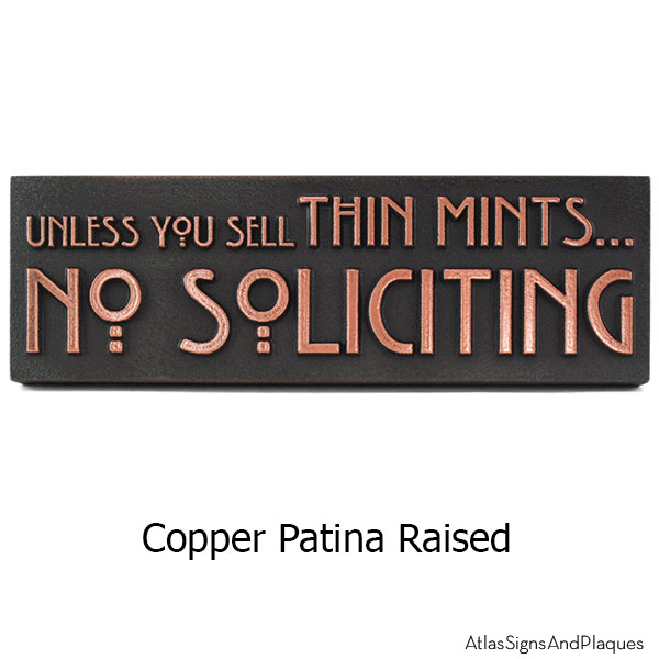 Thin Mints No Soliciting Sign - Copper