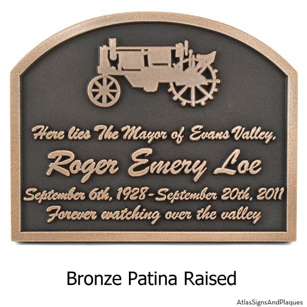 Tractor Memorial Plaque - Bronze