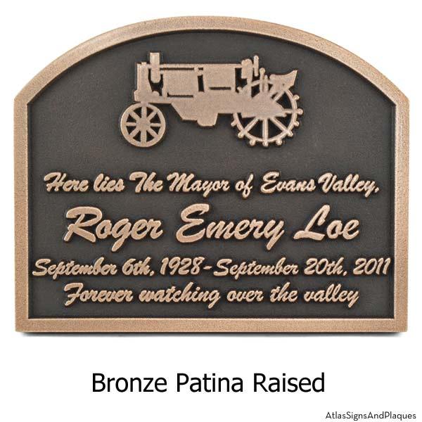 Tractor Memorial Plaque - Bronze