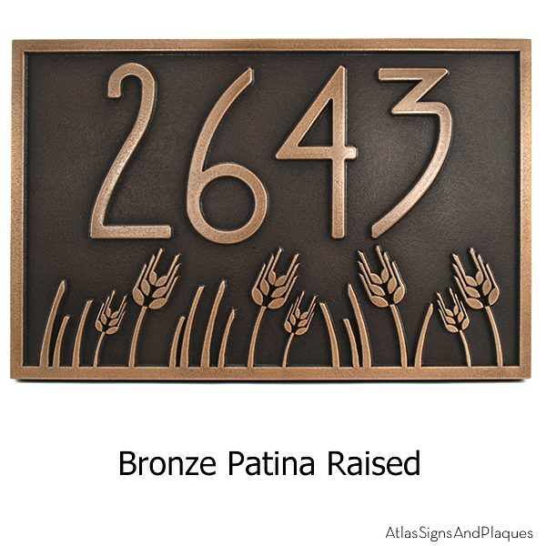 Wheat Field Address Plaque - Bronze