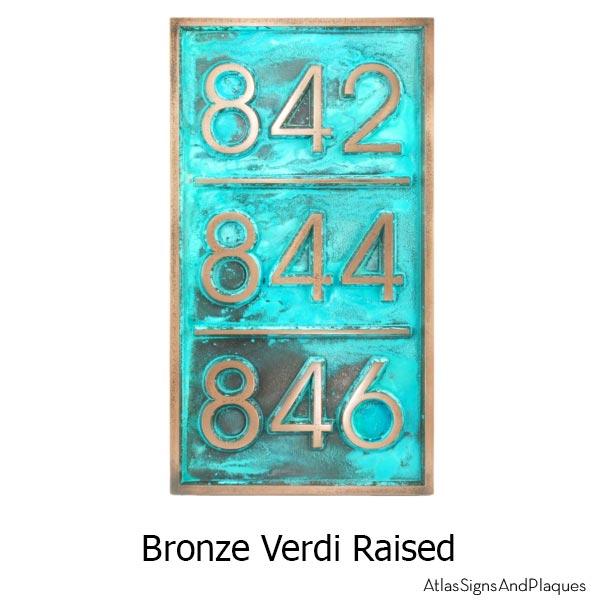 Multiple Advantage Multi-Address Plaque - Bronze Verdi