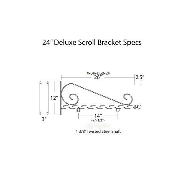 """24"""" Deluxe Scroll Bracket Specs"""