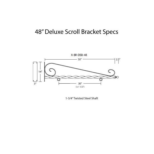 """48"""" Deluxe Scroll Bracket Specs"""